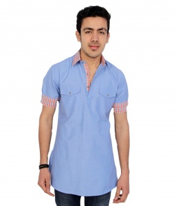 Men Blue Pathani Straight Kurta ( S9-MK-90)