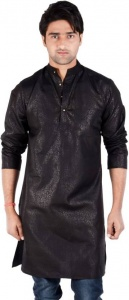 Men Black Printed Straight Kurta ( S9-MK-234)