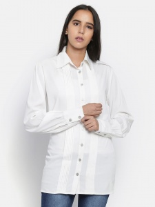 Zinniars Off-White Formal Full Sleeve Shirt with Pintucks at Front (Z-2x-TnB-003A)