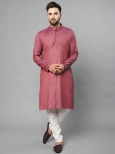 Classic A-Line Full Sleeves Kurta With Antique Buttons On Chest For Men With The Rich Taste (S9-VM-KP-710B/Red))