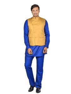 Forge'ko Tan -Blue Pathani Kurta Pyjama Jacket Set (S9-M-PKSET-02B)