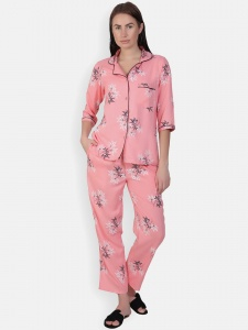 Zinniars Two-Piece cute sleepwear / Nightsuit Pajama Set featuring 3/4th sleeve top and pants for relaxed fit(SC-Pj-Pajama-20201C)