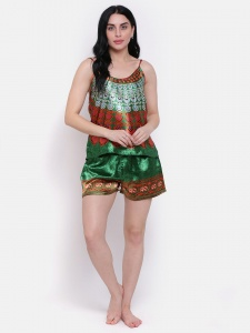 Designer Satin Green Printed Comfortable Cami & shorts Set For Ladies From The House Of Zinniars (Z-2X-Camset-001C)