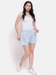 Stylish Sky Blue Cotton Checkered Printed Night And Day Shorts (Z-DS-002A)