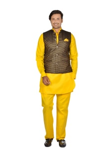 Forge'ko Black Gold - Hot Yellow colored Pathani Kurta Pyjama Jacket Set (S9-M-PKSET-09D)