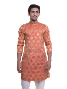 S9 Men Nawaabi Orange Peach Jacquard Woven Designer Kurta