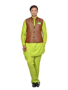 Forge'ko Contrast Multi colored Jacket  with Lime Green Pathani Kurta Pyjama Jacket Set ( S9-M-PKSET-08e)