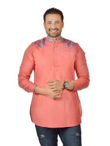 Men Carrot Pink &  Multi Color Pathani Kurta ( S9-MK-341C)