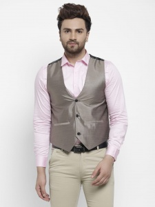 Forgeko Self Design Men's Formal Western Sleeveless Jackets With Satin Like Back FO-M-WC-2X-01E