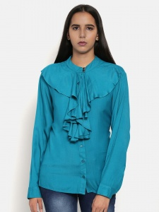 Zinniars Stylish Teal Blue Office Shirt  For Women (Z-2X-TnB-005A)