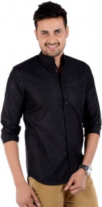 S9 Men's Solid Casual Formal Black Shirt S9-FS-208B