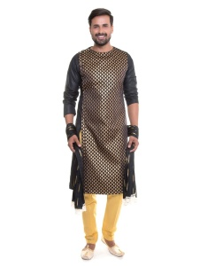 Men Indo Western Kurta Pajama Set with Scarf ( S9-IWS-KP-02B)