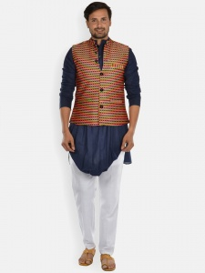 Men 3 Piece Set- Rich Cotton Navy Blue full sleeved Kurta  with contrast white Pajama and  Multi colored Modi Jacket