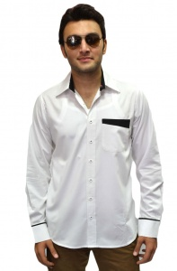 Men Poly Cotton Solid Formal Shirt For Men (White-Black)