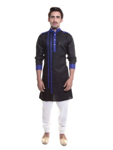 Men Black & Dark Blue Color Solid A-Line Kurta  Pyjama  Set   (1)