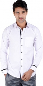 Men's Solid Casual Shirt (White, Black) S9-FS-205