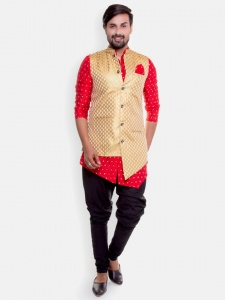 Men -4 Piece Set -Asymetrical hemmed Front Open Red Golden Party Kurta & breaches fitting Pajama with Asymetrical Band gala