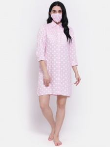Designer Rayon  long Boyfriend Shirt-Dress For Ladies From The House Of Zinniars (Z-2X-BS-001B/Pink)