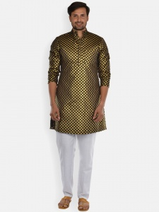 Men black & Golden Jacquard Woven Designer Kurta  with white Pajama S9-KP-19-24D