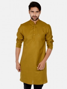 Men Khaki Solid Straight Kurta (S9-MK-201i)