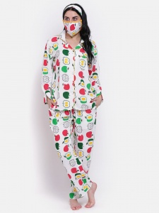 Zinniars Elegant Yellow Apple Printed  Night Suit Set With Mask And Hairband  (Z-PJ-PAJAMA-apple-206A)