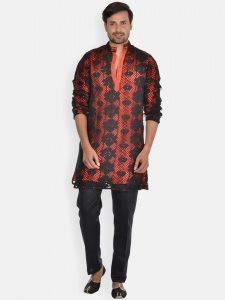 Black Cotton  Crotchetted Net Kurta Pajama with Contrast Red Lining S9-KP-19-1B