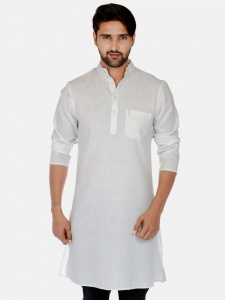S9 Men Ivory White Solid Straight Kurta (S9-MK-201R)
