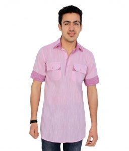 Men Baby Pink Pathani Straight Kurta (S9-MK-94C)