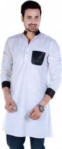 Men White & Black Solid Self Design Straight Kurta (S9-MK-255A)