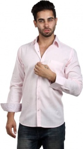 Men's Solid, Woven, Casual Shirt (Pink, Maroon, White)