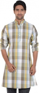 MEN Checkered Men's A-line Kurta (Multicolor)