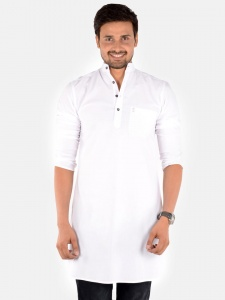 S9 Men White Solid Straight Kurta (S9-MK-201G)