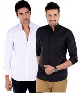 Men's Solid Casual Black, White Shirt  (Pack of 2)