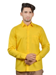 S9 Men Solid Formal Cotton Blend Shirt For Men(Deep yellow)  -S9-FS-253G casual