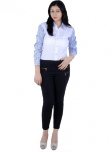 Women's Checkered, Solid Casual White, Blue Shirt (S9-W-FS-2007)