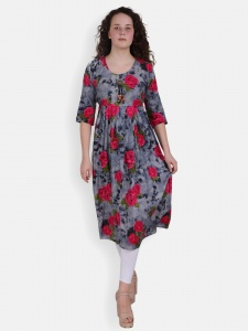 Pink Rose Print Kurti for women (SRK-2X-DU-002C)