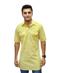 Men 100 % cotton kurta(Yellow) S9-MK-31