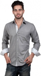 Men's Solid, Woven, Casual Shirt (Grey, White, Black) S9-FS-217C