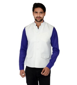 Forge'ko Economical Self Design Men's Waistcoat(Earthly White) FO-M-WC-ECO-14