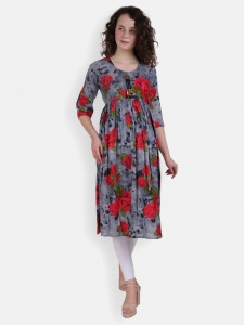 Red Rose Print Kurti for women (SRK-2X-DU-002A)