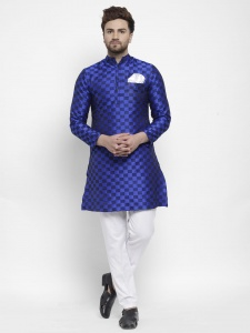 S9-Men Elegant Ethnic Designer  Royal Blue Polyester Blend Kurta With Mandrin Collar And Contrast White Pajama (S9-KP-709A)