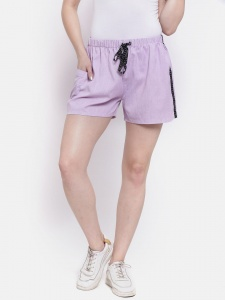 Sporty Look Stylish Cotton woven Lavender Colored shorts for women of all ages (Z-DS-001B)