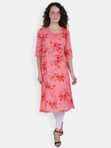 Pink Leaf Print Kurta for Women(SRK-2X-DU-004B)