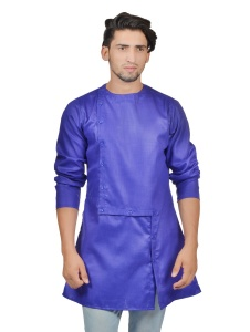 Men Dark Blue Colored Solid A-Line Asymmetrical opening Kurta