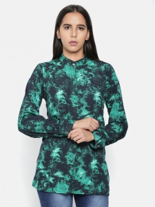 Zinniars Elegant Green Printed Shirt For Women (Z-2X-TnB-001A)