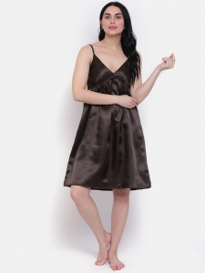 Stylish Solid Brown Satin Slip-On Dress For Ladies From House Of Zinniars (Z-2X-DRS-06)