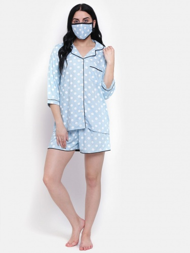 Zinniars Elegant Polka Dot Light Blue Rayon Night Suit Set For Ladies (Z-2X-PJ-SHORTS-204)