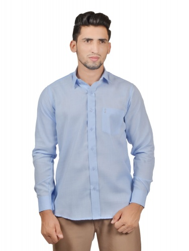 Men Solid,Casual Semi- Formal Cotton Blend Shirt For Men(Office Blue)