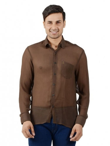 Men Solid Casual Shirt For Men (Brown) ( S9-FS-NIC-07)