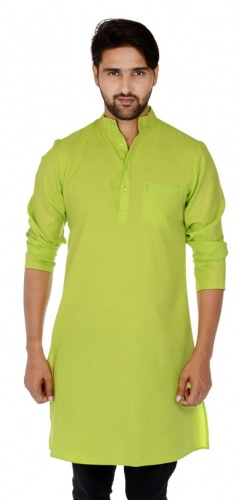 Men Leaf Green Solid Straight Kurta (S9-MK-201T)